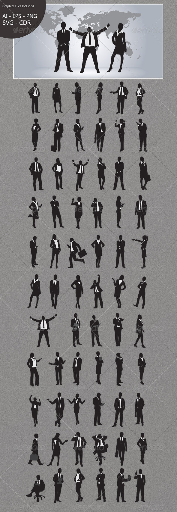 GraphicRiver Business People Silhouettes 4708134
