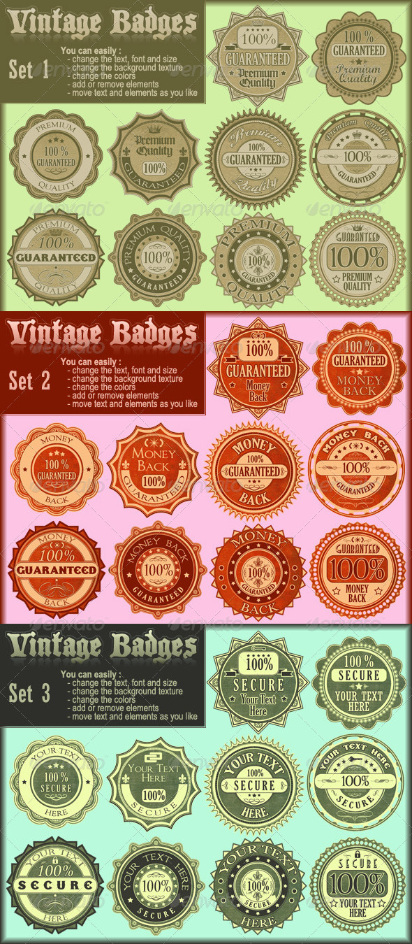 GraphicRiver Vintage Badges Collection 4708223