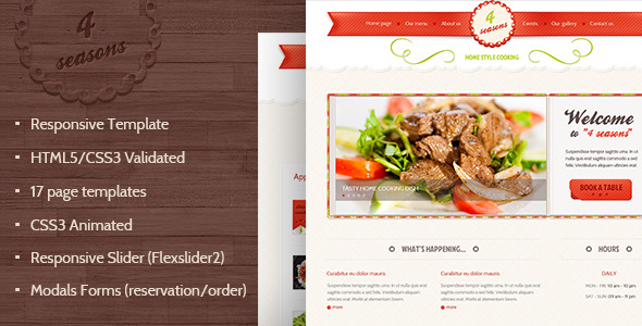 4 Seasons - Restaurant & Cafe HTML5/CSS3 Template