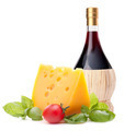 Red wine bottle, cheese and tomato still life - PhotoDune Item for Sale