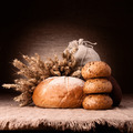 Bread, flour sack and ears bunch still life - PhotoDune Item for Sale