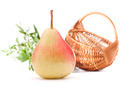 Pear fruit and wicker basket isolated on white background cutout - PhotoDune Item for Sale