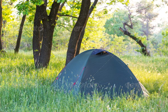 Tent on grassland - Stock Photo - Images