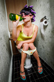 girl sits in a toilet - PhotoDune Item for Sale