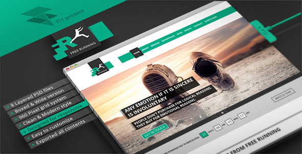 ThemeForest Free Running Flat Style PSD Single Page 4712241