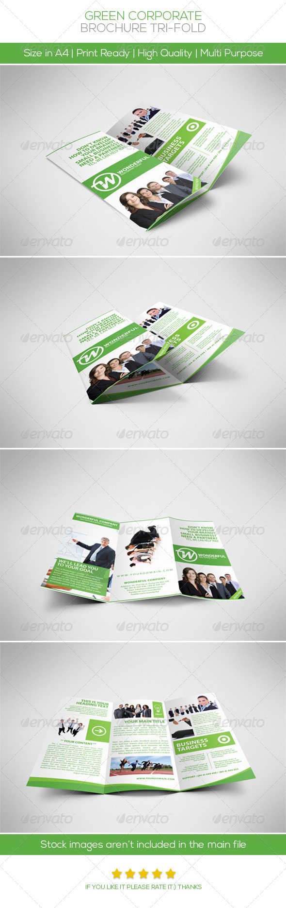 Green Brochure Tri-fold  - Brochures Print Templates