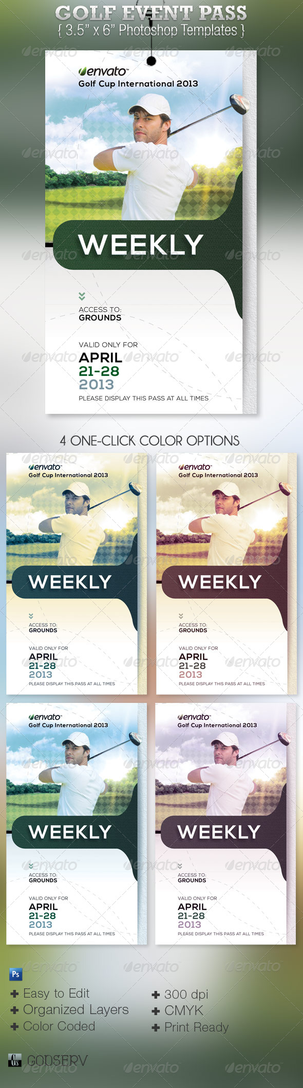 GraphicRiver Golf Event Pass Template 4636316