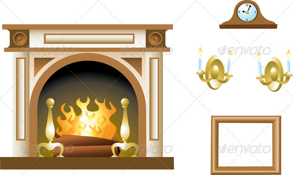GraphicRiver Fireplace & Mantel 4712979