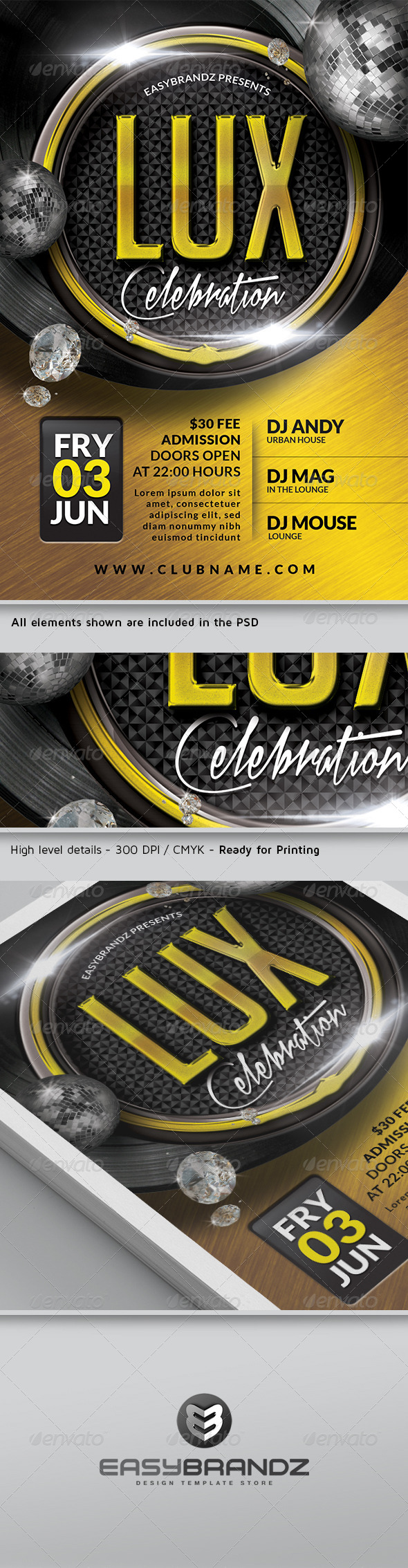 GraphicRiver Lux Celebration Flyer Template 4622134