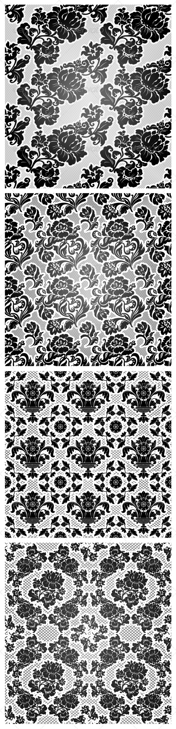 GraphicRiver 4 Lace Background Ornamental Flowers Wallpaper 4715086