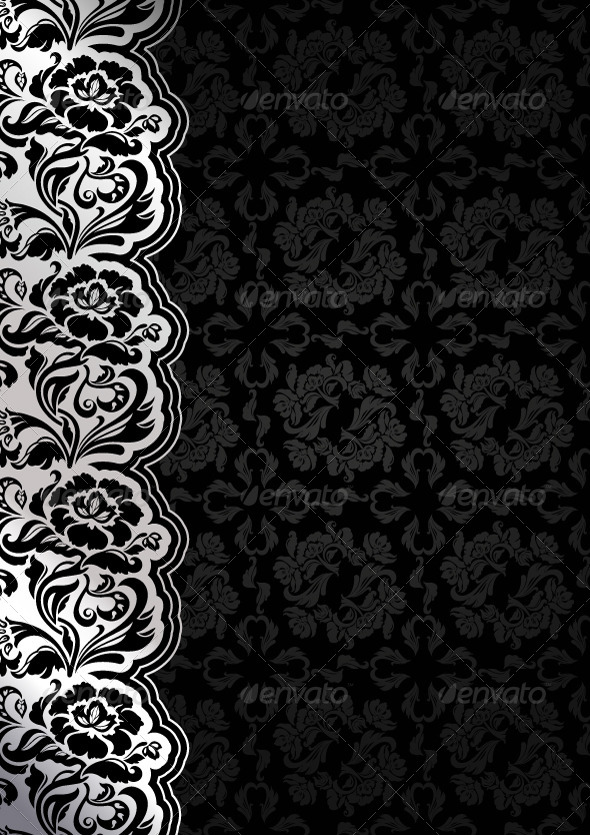 GraphicRiver Floral Black Background with Lace 4715458
