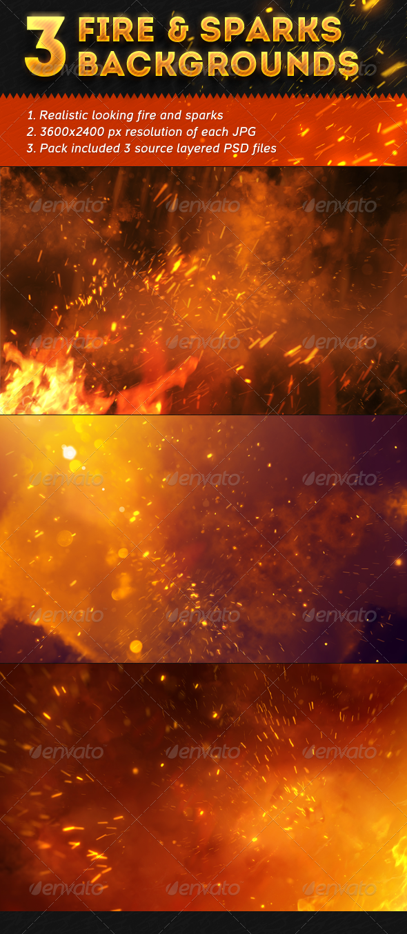 3 Fire and Sparks Backgrounds - Nature Backgrounds