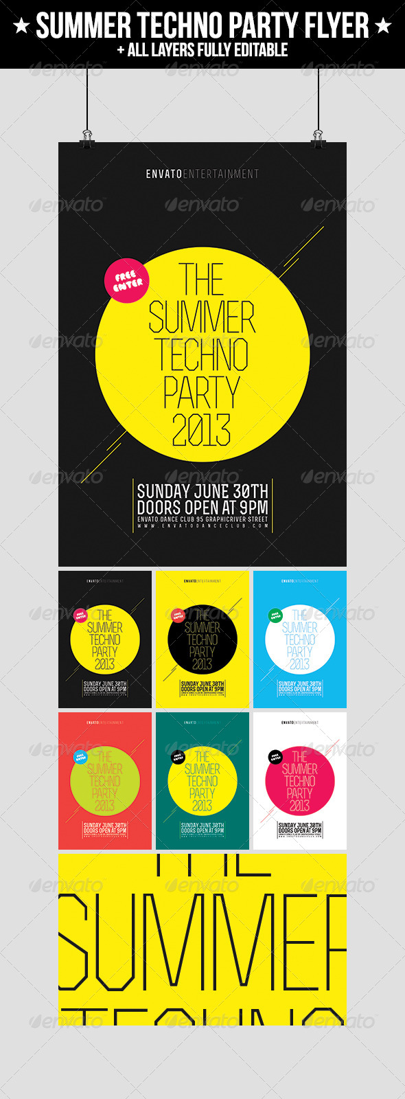 GraphicRiver Summer Techno Party Flyer 4716318