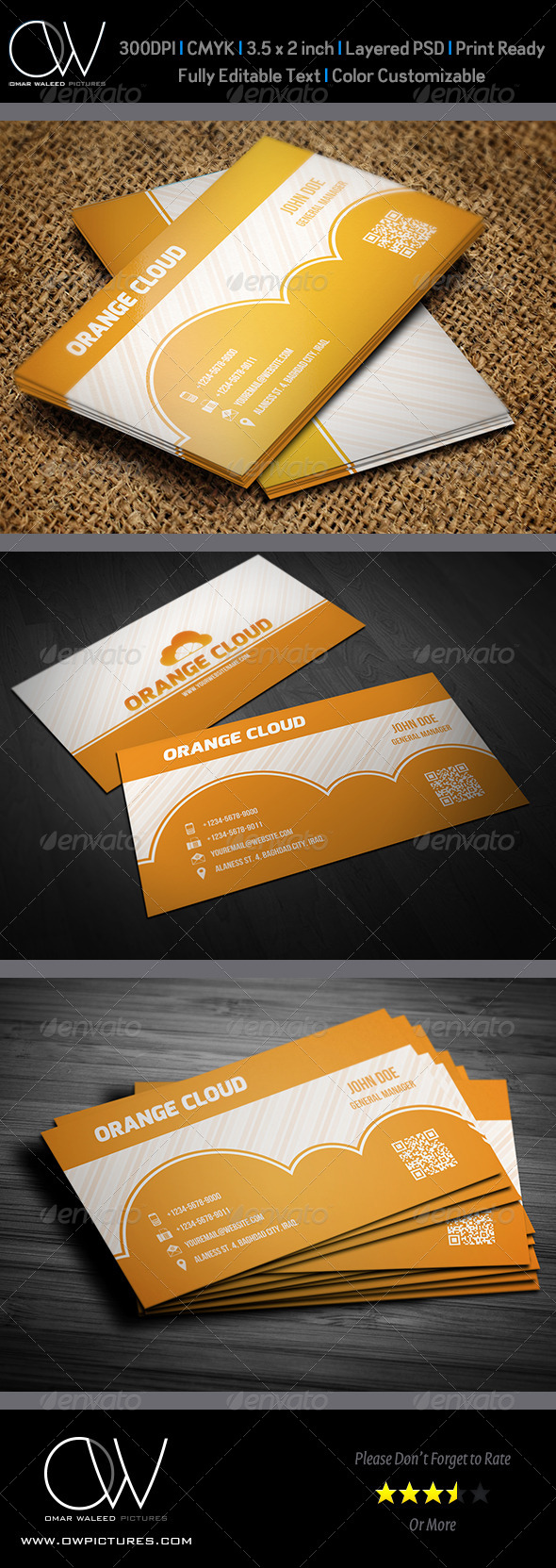 Orange Cloud Business Card - Business Cards Print Templates