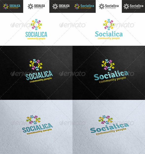 GraphicRiver Socialica Community People Logo 4717071
