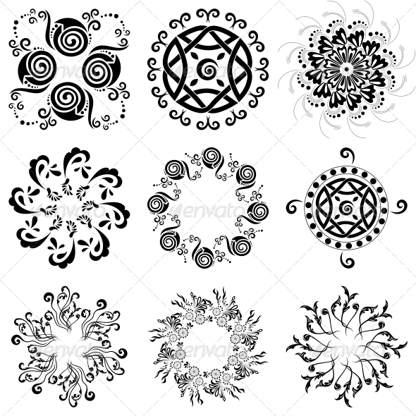 GraphicRiver Circular Floral Designs Vector Pack 4717142