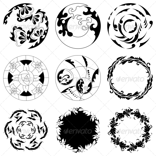 GraphicRiver Circular Floral Designs Vector Pack 4717249