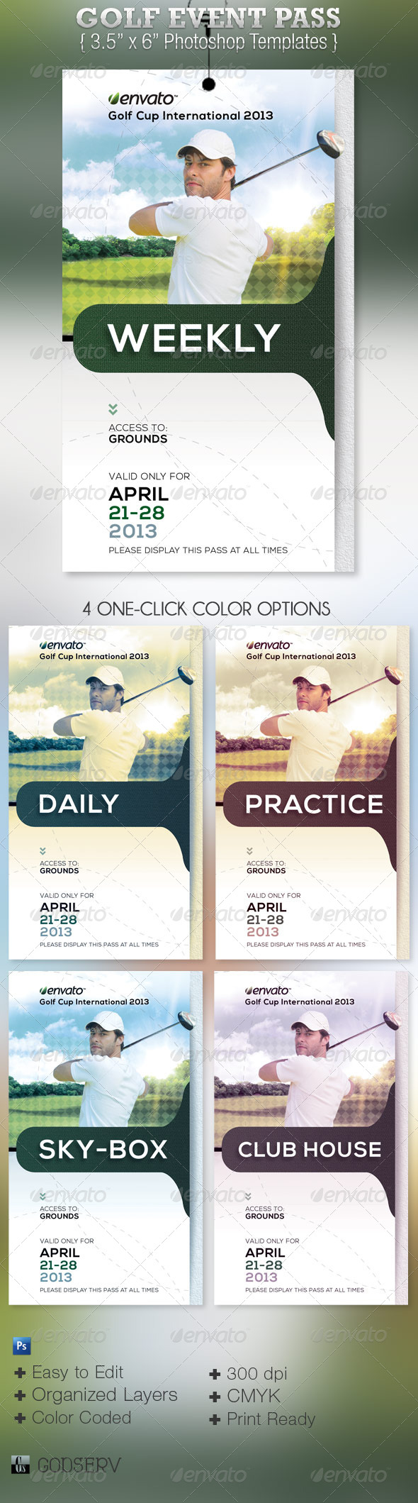 Golf Event Pass Template - Miscellaneous Print Templates