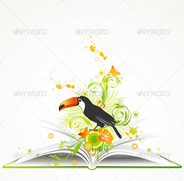 GraphicRiver Open Book with Flowers and Tropical Bird 4717684