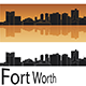 Fort Worth sSyline in Orange Background - GraphicRiver Item for Sale