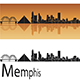 Memphis Skyline in Orange Background - GraphicRiver Item for Sale
