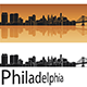 Philadelphia Skyline in Orange Background - GraphicRiver Item for Sale