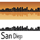 San Diego Skyline in Orange Background - GraphicRiver Item for Sale