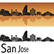 San Jose Skyline in Orange Background - GraphicRiver Item for Sale