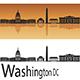 Washington DC Skyline in Orange Background