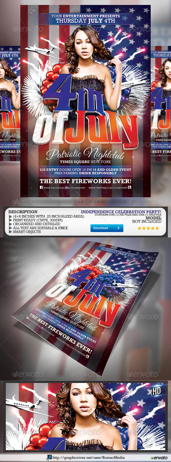 GraphicRiver Fourth of July Patriotic Party Flyer 4718084