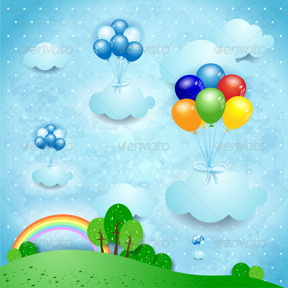 GraphicRiver Fantasy Landscape with Balloons 4718118
