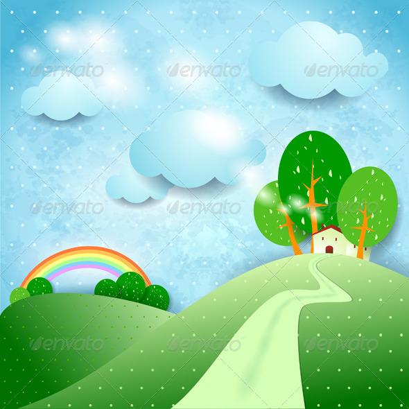 GraphicRiver Fantasy Landscape with Home 4718203