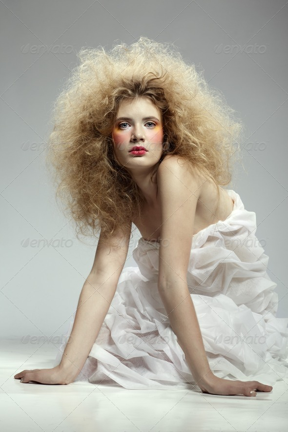 girl with shock hair-do - Stock Photo - Images