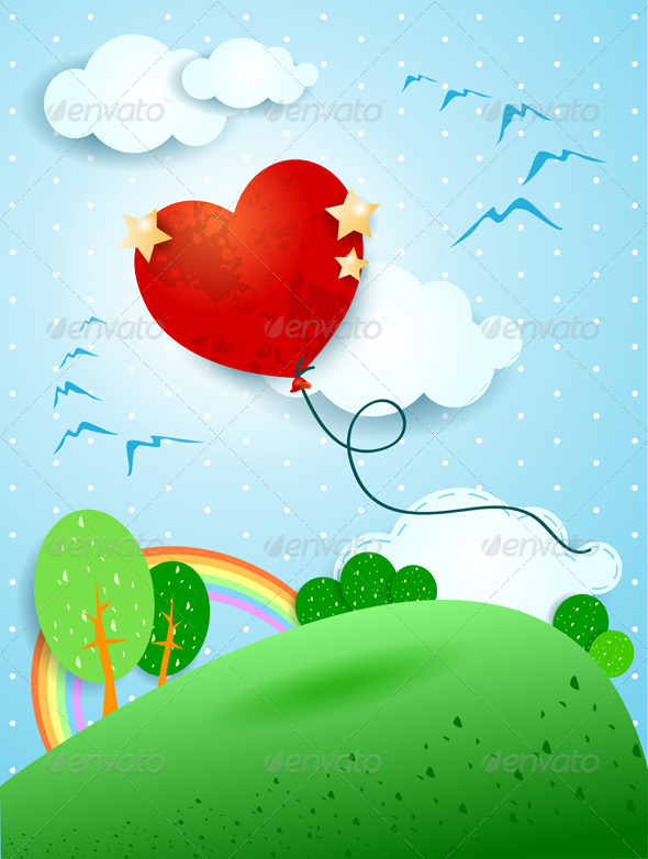 Heart Shaped Balloon - Landscapes Nature
