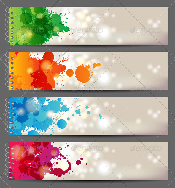 GraphicRiver Banners with Splashing Paints 4718254