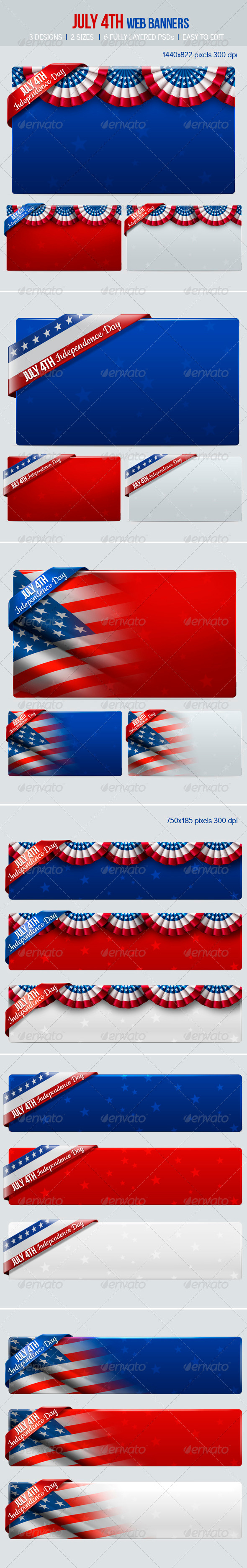 July 4th Web Banners - Banners & Ads Web Elements