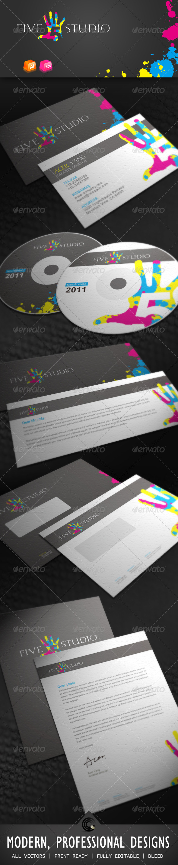 Five Studio Corporate Identity - Stationery Print Templates