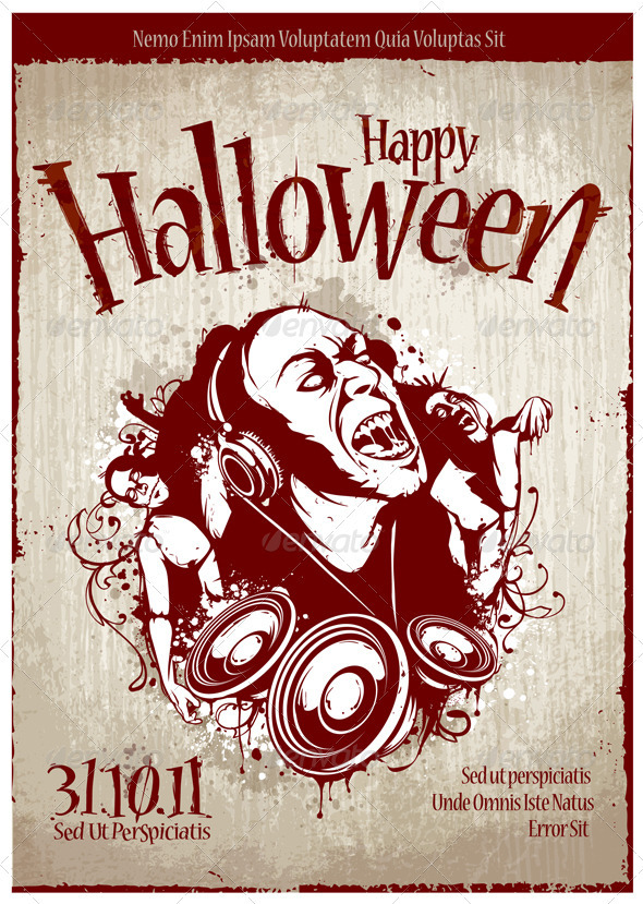 Grungy poster for halloween party - Vectors