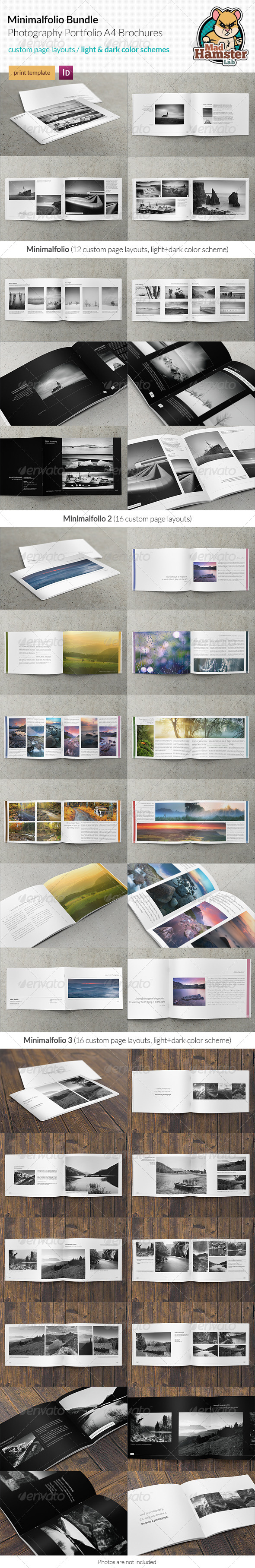 GraphicRiver 3x Minimalfolio Photography Portfolio A4 Brochures Bundle 4718838