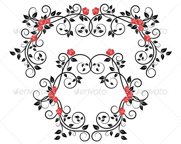 GraphicRiver Roses on Floral Frame and Border 4719462