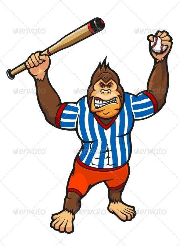 Monkey Baseball Player - Animals Characters