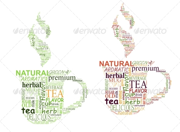 Tea Tags Cloud with Cup Shape