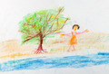 child's drawing - merry girl near river - PhotoDune Item for Sale