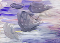 child's painting -grey gouache brush strokes - PhotoDune Item for Sale