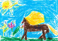 child's drawing - Horse grazes in meadow - PhotoDune Item for Sale