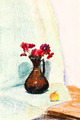 child's paiting - flower vase with red chrysanthemum - PhotoDune Item for Sale