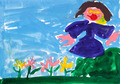 child's painting - girl near flower bed - PhotoDune Item for Sale