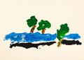 child's painting - trees on riverbank - PhotoDune Item for Sale