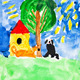 child's painting - two dogs and home - PhotoDune Item for Sale