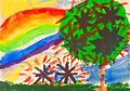 child's paiting - rainbow under fruit garden - PhotoDune Item for Sale